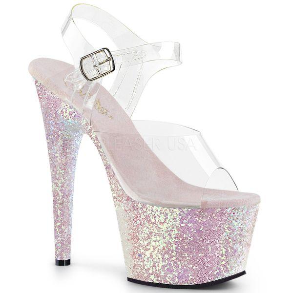 Durchsichtige Riemchen Sandalette mit opal Multi Glitter Plateau ADORE-708LG